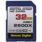 Digital Speed 2500X 32GB Professional High Speed Mach III 350MB/s Error Free (SDHC) HD Memory Card Class 10